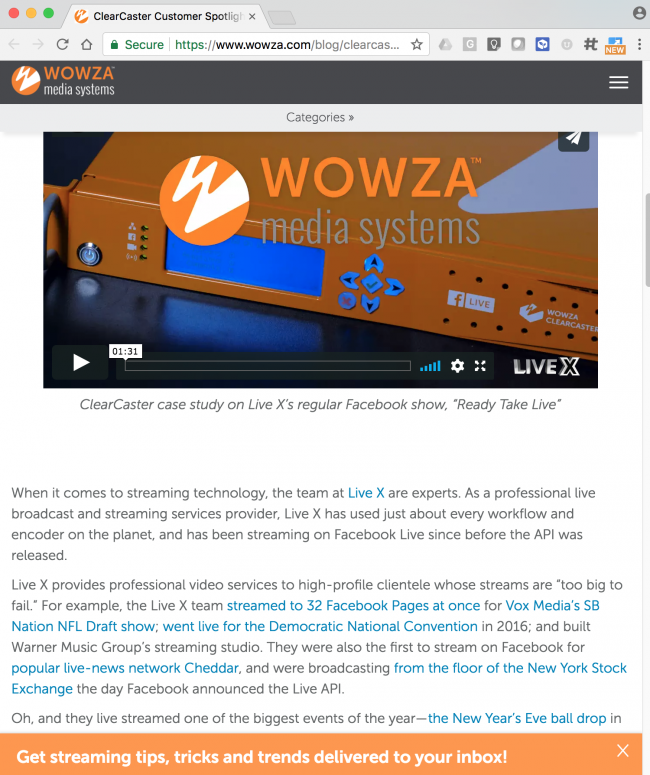 Wowza Highlights Live X in Clearcaster Case Study | Live X