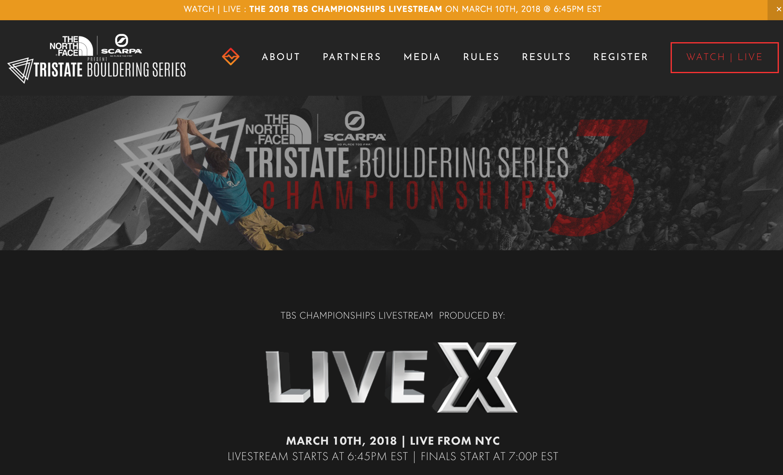 Live X streams the Tristate Bouldering Series at the Cliffs